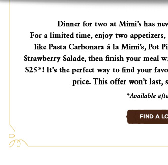 Three-Course Dinner for Two. $25.